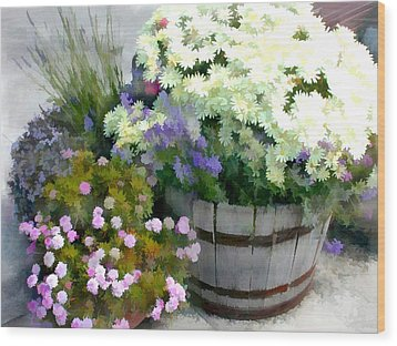 White Chrysanthemums In A Barrel Wood Print by Elaine Plesser