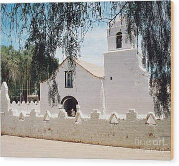 White Church In Chile Wood Print by Trude Janssen