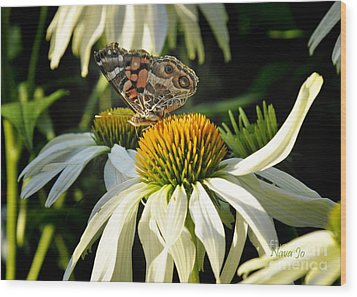Wood Print featuring the photograph White Cone Flower With Angel by Nava Thompson