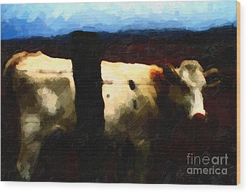 White Cow Behind Fence At Night Wood Print by Wingsdomain Art and Photography