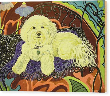 White Dog In Garden Wood Print by Patricia Lazar
