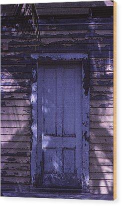 White Door Wood Print by Bob Whitt