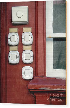 White Doorbells Wood Print by Carlos Caetano