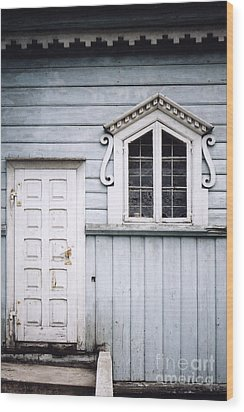 Wood Print featuring the photograph White Doors And Window On Bluish Wooden Wall by Agnieszka Kubica