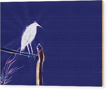 White Egret Wood Print by Anil Nene