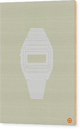 White Electronic Watch Wood Print by Naxart Studio