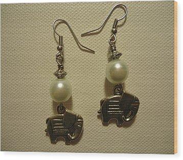 White Elephant Earrings Wood Print by Jenna Green