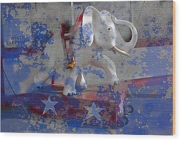 White Elephant Ride Abstract Wood Print by Garry Gay