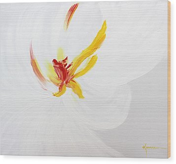 Wood Print featuring the painting White Flower by Kume Bryant
