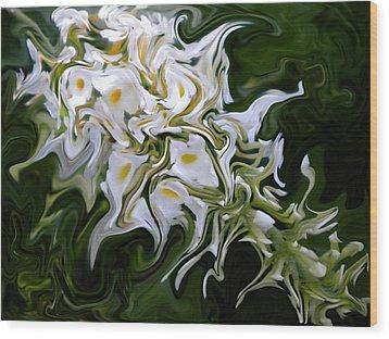White Flowers 2 Wood Print by Renate Nadi Wesley