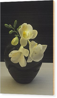 White Freesias In Black Vase Wood Print