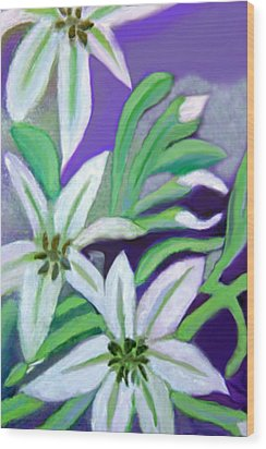 Wood Print featuring the painting White Lilies by Margaret Harmon