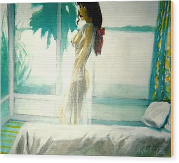 White Negligee Palm Tree Wood Print by Harry WEISBURD