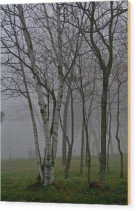 White On Gray Wood Print