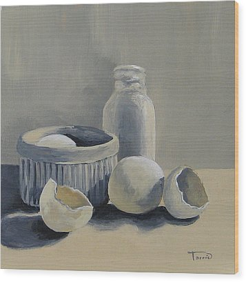 White On White Wood Print by Torrie Smiley