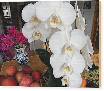 White Orchid Wood Print by Vicky Tarcau