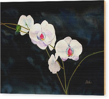 Wood Print featuring the painting White Orchids by Alethea McKee
