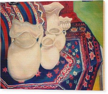 White Pitchers Wood Print by Eliezer Sobel