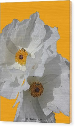 White Poppies On Yellow Wood Print
