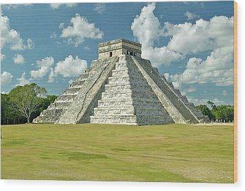 White Puffy Clouds Over The Mayan Pyramid Of Kukulkan (also Known As El Castillo) And Ruins At Chichen Itza, Yucatan Peninsula, Mexico Wood Print by VisionsofAmerica/Joe Sohm