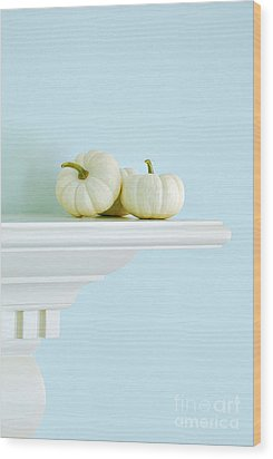 White Pumpkins Wood Print by HD Connelly