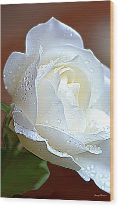 Wood Print featuring the photograph White Rose 005 by George Bostian