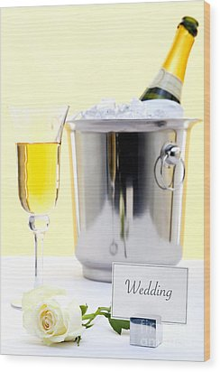 White Rose And Champagne Wood Print by Richard Thomas
