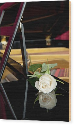 White Rose And Its Reflection Wood Print by Corepics