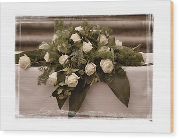 White Roses For The Wedding Wood Print by Mary Machare