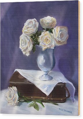 White Roses In A Silver Vase Wood Print by Jack Skinner