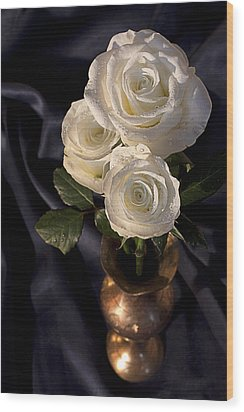 White Roses Wood Print by Shirley Mitchell