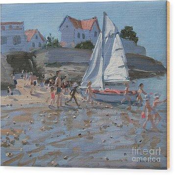 White Sailboat Wood Print by Andrew Macara