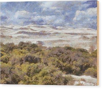 Wood Print featuring the digital art white sands in Lancelin by Roberto Gagliardi