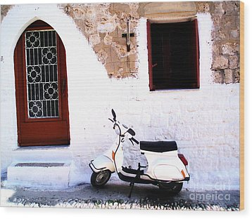 White Scooter Dreams Horizontal Wood Print by Anthony Novembre