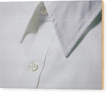 White Shirt Collar Detail. Wood Print by Ballyscanlon
