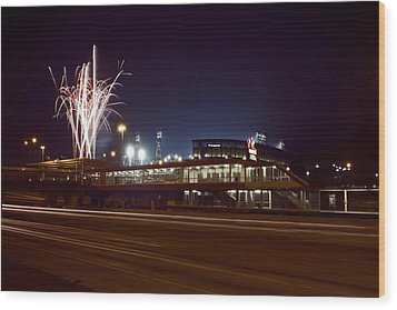 White Sox Homer Fireworks Wood Print by Sven Brogren