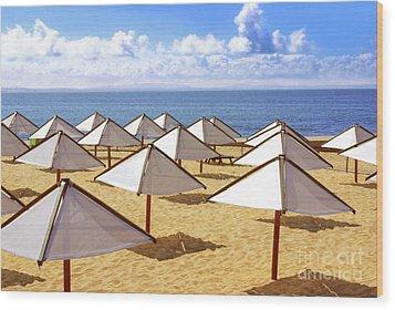 White Sunshades Wood Print by Carlos Caetano