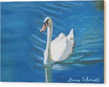 White Swan At Lake Eola Of Orlando Wood Print