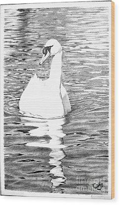 White Swan Wood Print by Muna Abdurrahman