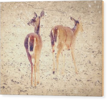 White Tails In The Snow Wood Print by Amy Tyler