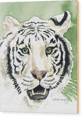 White Tiger Wood Print by Mark Jennings