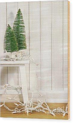 White Tree Lights  Wood Print by Sandra Cunningham