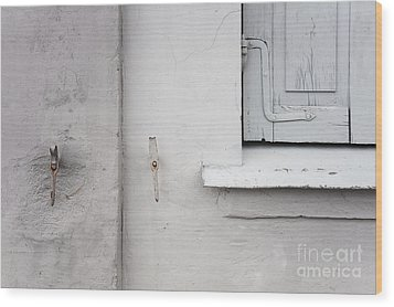 White Wall Gray Shutters Wood Print