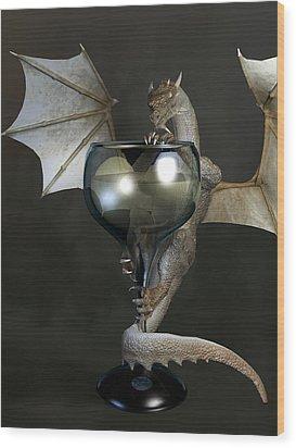 White Wine Dragon Wood Print by Daniel Eskridge