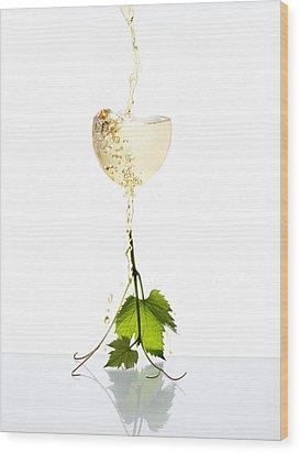 White Wine Wood Print by Floriana Barbu