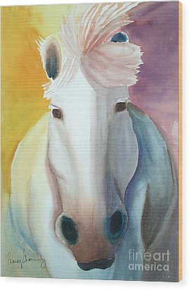 White Work Horse Wood Print