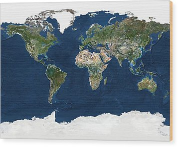 Whole Earth, Satellite Image Wood Print by Planetobserver