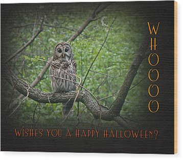 Whoooo Wishes  You A Happy Halloween - Greeting Card - Owl Wood Print by Mother Nature