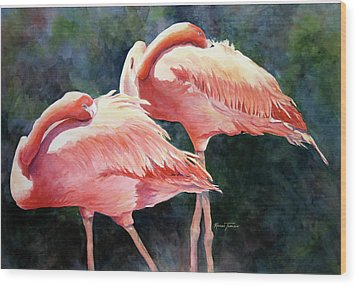 Who's Peek'n - Flamingos Wood Print