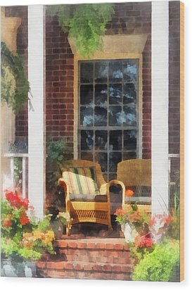 Wicker Chair With Striped Pillow Wood Print by Susan Savad